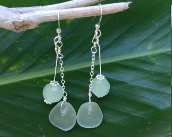 Adventurine gemstone and seaglass earrings on sterling silver