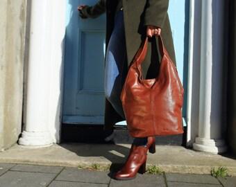 SALE Brown Leather Bag / Brown Hobo Bag / Brown Leather Tote Bag / Brown Leather Shoulder Bag / Leather Bag / Leather Hobo / leather Tote
