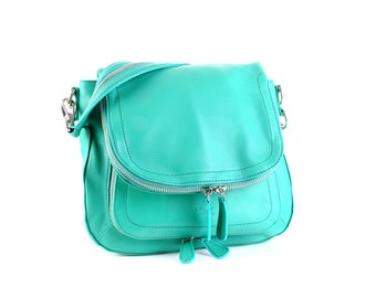 Leather Bag / Leather handbag / Leather Messenger / Leather Shoulder Bag / Green Leather Bag / Green Leather Handbag / Green Messenger