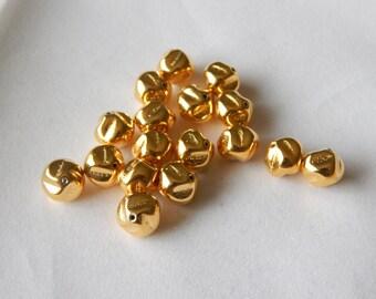 10mm Gold Czech Glass Bead Nugget