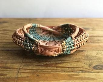 Pink and Blue Woven Basket with Handles / Split Oak basket / Boho Basket