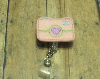 Pink Camera felt badge reel, name badge holder, nurse badge, ID holder, badge reel, retractable badge clip, feltie badge reel