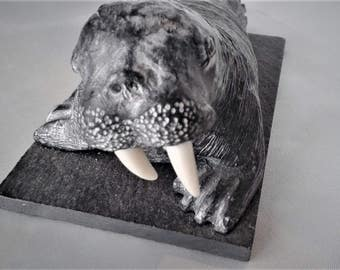 Vintage Signed Wolf Original Sculpture - Walrus with Tusk - Made in Canada - Walrus on slate