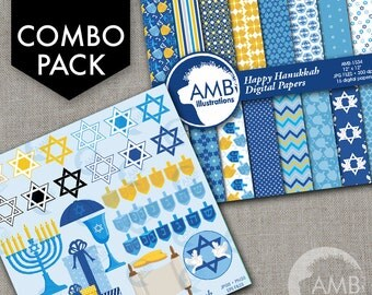 COMBO Hanukkah Clipart and Digital Paper Pack, Hanukkah Dreidel, Menorah Digital Papers, Star of David, Chanukah, AMB-1704