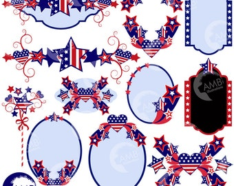 Fourth of July clipart, Banners, Embellishments, Independence Day Clipart, 4th of July Clipart, American, Commercial Use, AMB-922