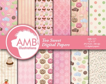 Donuts Digital Papers, Sweet bakery Digital Papers, Sweet macaroons Papers, Commercial Use, Scrapbook, Backgrounds, AMB-1571