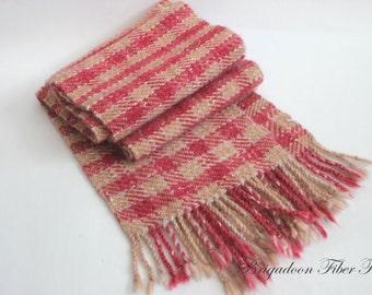 Plaid hand woven scarf, Alpaca, hand woven, alpaca scarf, plaid scarf, pink