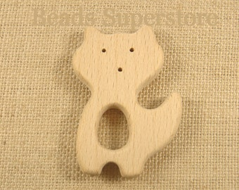 SALE Natural Wood Fox Teether - Natural Unfinished Wood Teether - Baby Teether