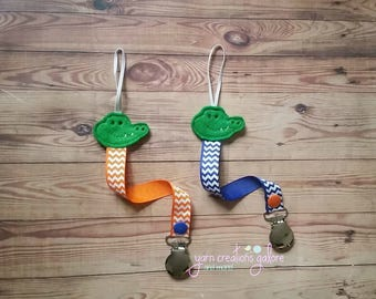 Feltie Alligator Pacifier Holder--Orange or Blue