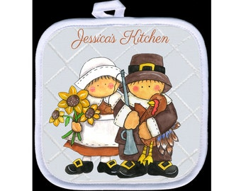 Custom, Personalized Pot Holder - Thanksgiving Pilgrims - Add Your Text  - Free Standard Shipping