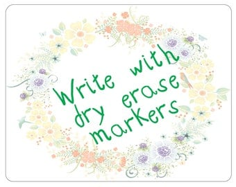 Dry Erase Floral Wreath Message Board - Three Sizes
