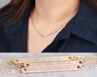 Personalized Bar Necklace • Custom Bar Necklace • Roman Numeral Necklace • Coordinate Necklace • Bridesmaid Gifts • Gold Bar Necklace