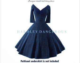 "Navy Blue Pin Up 50s CHERRYBOMB 3/4 Sleeve Swing Dress 43"" Mid Calf Length by HARDLEY DANGEROUS, 1950s Rockabilly Bridesmaid Weddin Party"