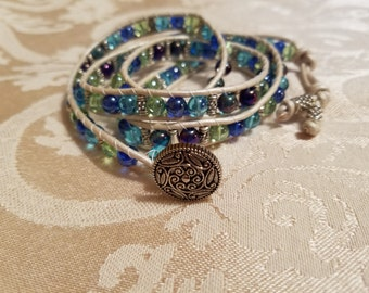 Boho wrap bracelet in blues and silver