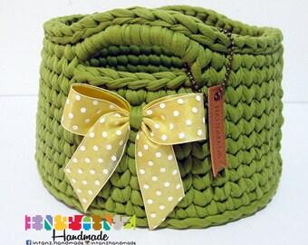 Green Tshirt Yarn Basket