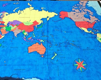 World map fabric etsy world map panel by nutex fabrics 35 x 44 inches 89 x 112 cm sciox Choice Image