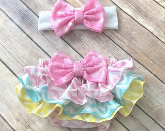 Baby girl clothes, baby bloomers, diaper cover, newborn girl bloomer, coming home outfit, 1st birthday, infant girl outfit, pink yellow blue