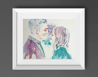Custom Portrait Painting from photo, Husband to Wife Gift from Groom to Bride, First Anniversary gift for couple portrait watercolor