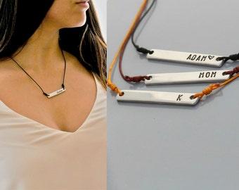 Name Necklace - Personalized Pendant - - Bridesmaid Gift - Monogram Pendant - Engraved Letter necklace - Aluminum