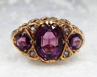 Antique 1915 Edwardian 9ct Gold Purple Amethyst Glass Trilogy Ring / Size L 1/2