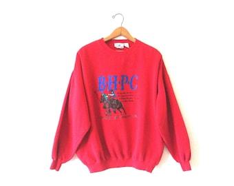 Vintage 90's BEVERLY HILLS Polo Club California Equestrian Sweatshirt Sz XL