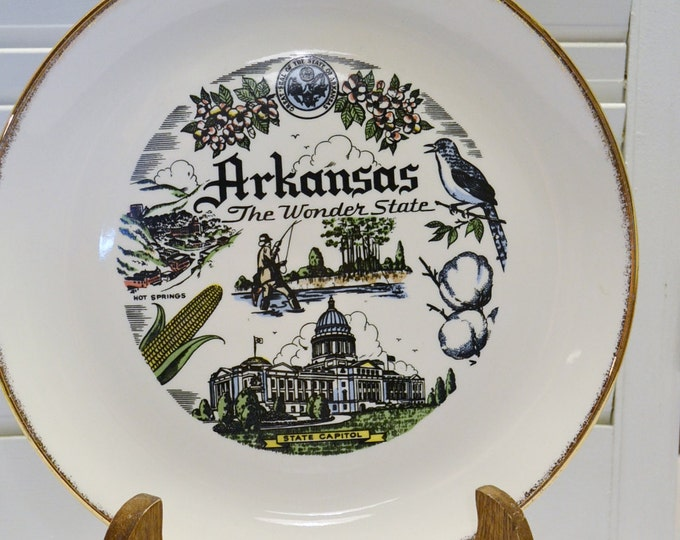 Vintage Arkansas State Decorative Plate Travel Souvenir Kitsch Canonsburg Simplicity PanchosPorch