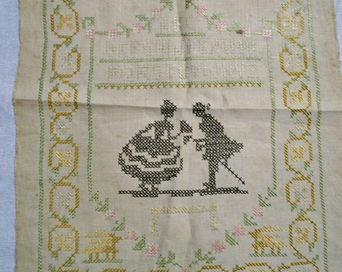 Vintage Cross Stitch Sampler Handmade Embroidery Colonial Couple Alphabet PanchosPorch