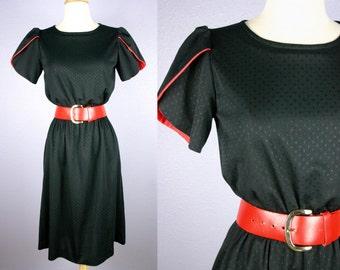 Vtg 80s SECRETARY Dress 80s Black Dress 50s Style MOD Dress RED Dress Avant Garde Dress Rockabilly Dress Party Dress Midi Skirt Career Retro