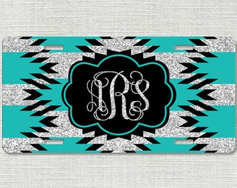 Front License Plate, Aztec License Plate, Teal Monogram License Plate Car Tag, Personalized License Plate Chevrons 9285