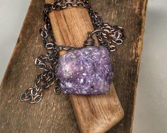 Purple druzy jewelry - rough chunky druzy nugget necklace - oxidized copper pendant