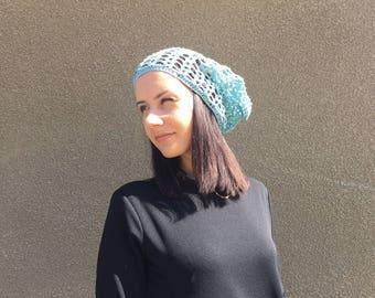 Crochet Summer Hat, blue  hat , Hand Crochet Hat linen hat Womens Hat slouchy Hat , sun hat, women hat blue women hat linen hat lace hat