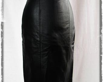 Vintage black leather pencil skirt XS