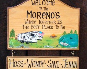Custom Camping Campsite 5th Wheel Camper Travel Trailer Sign Memories Aren't Made in Hotels Fire Lake Names of Family Personalized & Unique