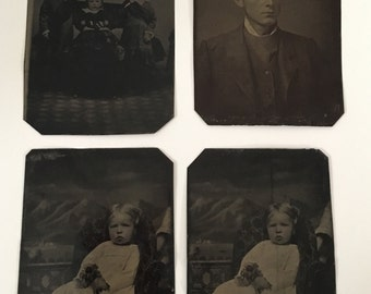 Antique Tin Type photographs - group of 4