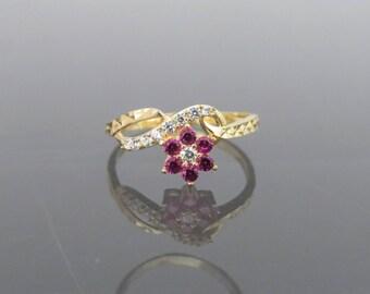 Vintage 18K Solid Yellow Gold Pink Tourmaline & White Topaz Flower Ring Size 7.25