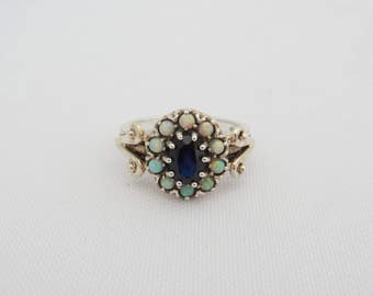 Vintage Sterling Silver Sapphire & Opal Ring Size 9