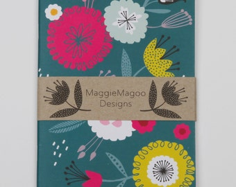 A6 notebook, bold floral pattern by MaggieMagoo Designs. Designed & printed in the UK.