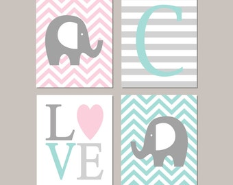 Elephant Nursery Decor Elephant Nursery Art Girl Nursery Decor Initial Love Pink Aqua Nursery Set of 4 Prints Or Canvas Elephant Theme