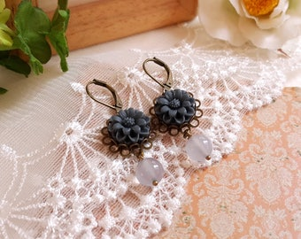 Antiqued inspired deep blue daisy floral dangling earrings Blue chalcedony gemstone earrings