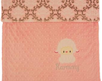 Personalized Baby Blanket, Baby Lamb Pink and Grey Minky Blanket, Lamb Custom Blanket