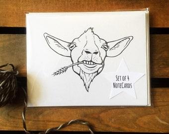 Cute Goat Notecards. 4 Goat Cards. Unique Stationary. Goat Stationary. Goat Art. Charming Goats. Goat Gift. Farm Cards. Farm Stationary.