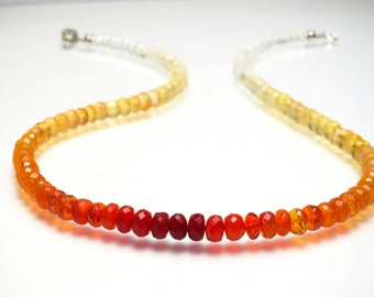 Top Quality Fire Opal necklace Mexican fire opals orange gemstone collier summer necklace /FO22/ Natural crystal