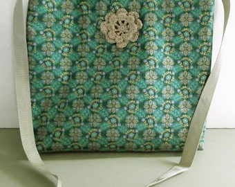 Green gold metallic crossbody bag,  15 in X 13.5 in strap drops 21 in.