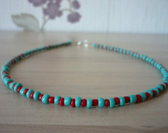 Beaded Choker Necklace, Dainty Seed Bead Necklace, Turquoise Blue Necklace, Blue and Red Choker, Aztec Tribal Necklace