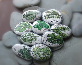 Herb Garden Markers, Painted Rocks Set of 9