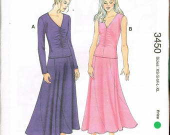 Size XS-XL Misses' V Neck Top & Skirt Pattern - Ankle Length Curved Panel Skirt - Shirred Front Top Sewing Pattern - Kwik Sew 3450