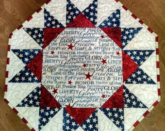 Bursting Glory Americana Quilted Table Topper  Runner