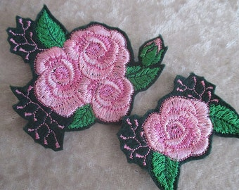 Pink Roses, iron on patches
