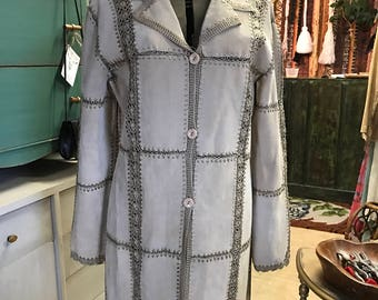 Vintage Patchwork Suede and Crocheted Coat