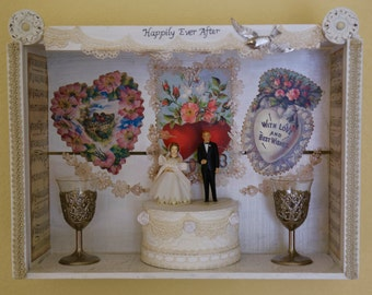 Happily Ever After Wedding Box- Found Object Assemblage